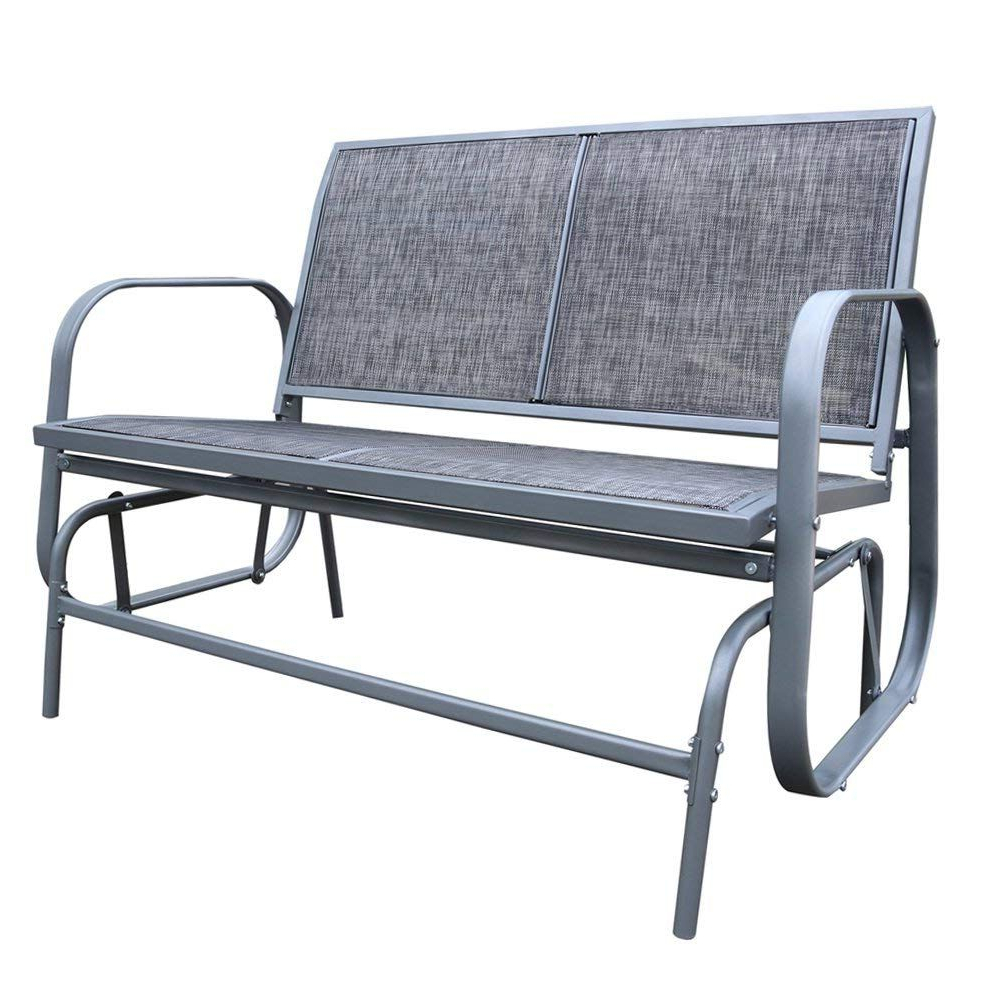 Trendy Amazon : Le Papillon Outdoor Glider Bench 2 Person Regarding Outdoor Patio Swing Porch Rocker Glider Benches Loveseat Garden Seat Steel (View 23 of 25)