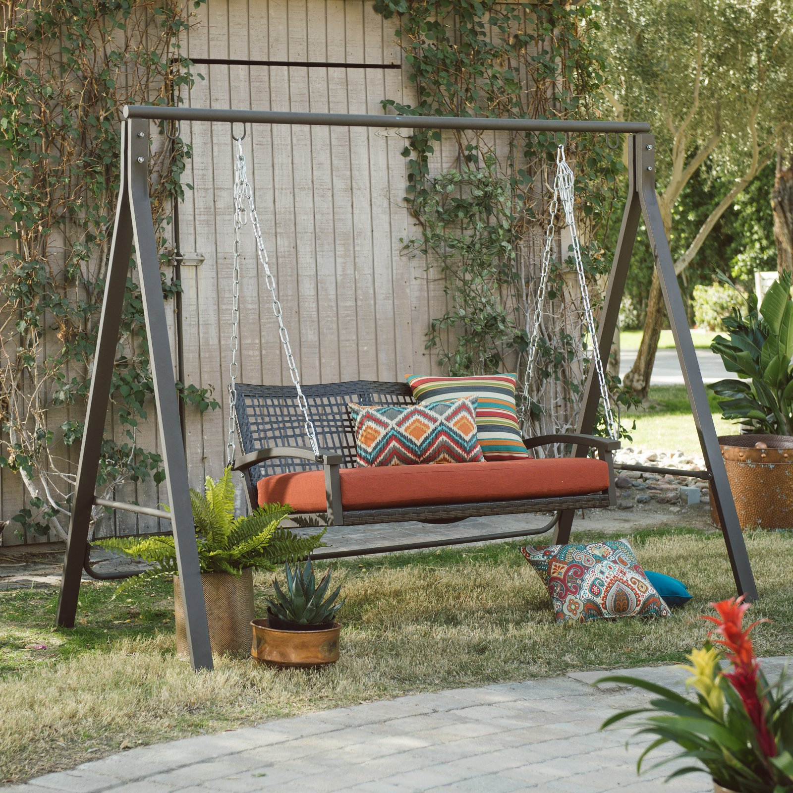 Trendy Belham Living Universal A Frame Metal Porch Swing Stand – Walmart For 2 Person Antique Black Iron Outdoor Swings (View 25 of 25)