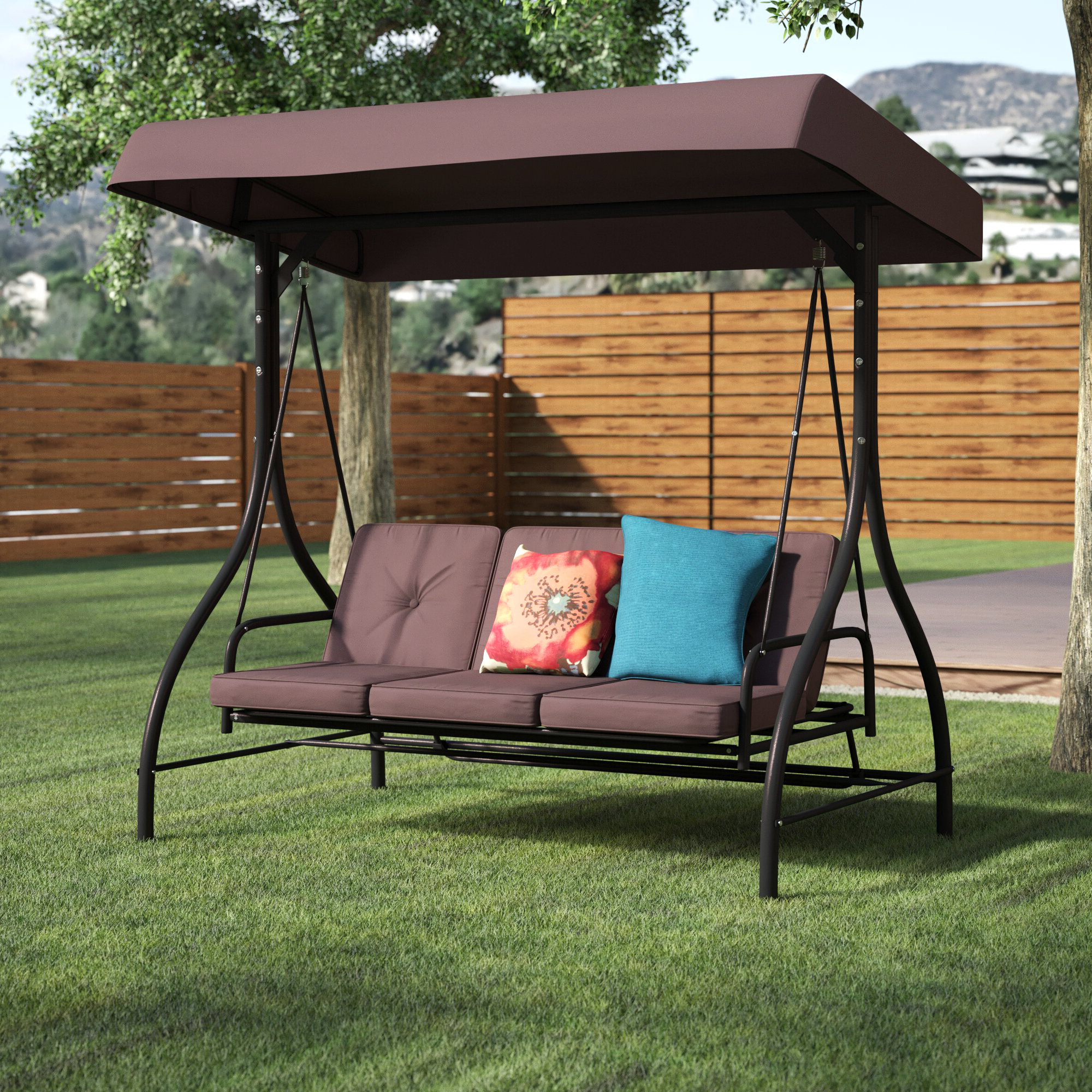 Trendy Canopy Porch Swings With Regard To Lasalle Canopy Patio Porch Swing With Stand (View 21 of 25)