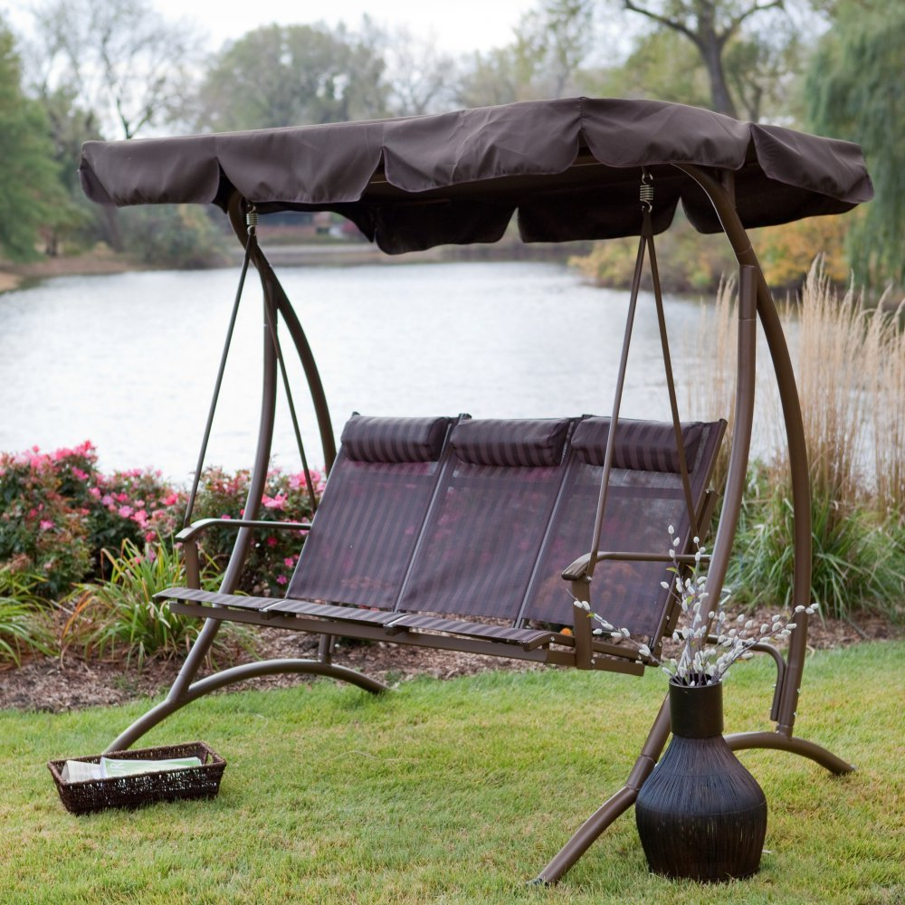 Trendy Canopy: Yard Swings With Canopy Pertaining To 3 Person Natural Cedar Wood Outdoor Swings (View 13 of 25)