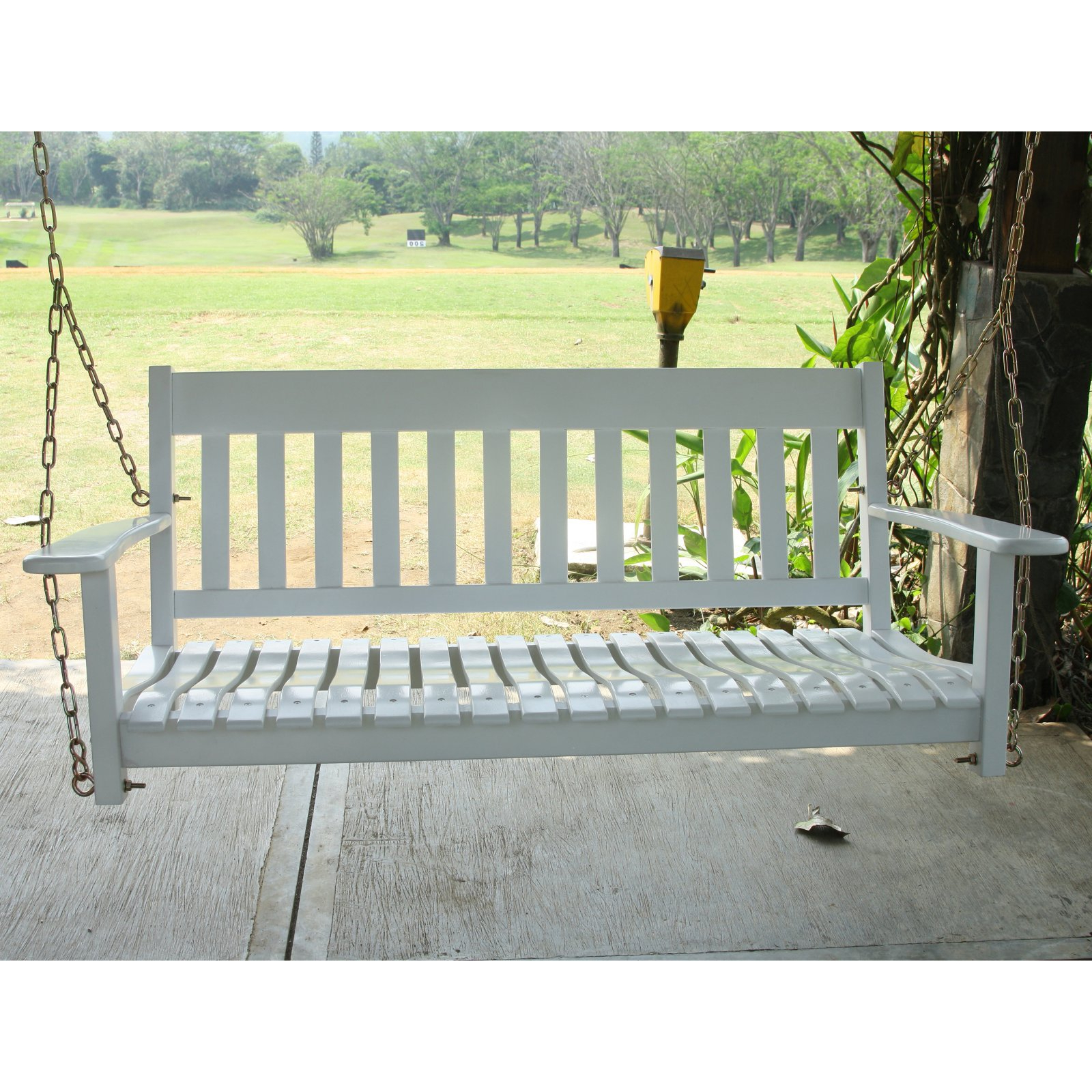 Trendy Casual Thames White Wood Porch Swings With Regard To Cambridge Casual 52 In (View 24 of 25)