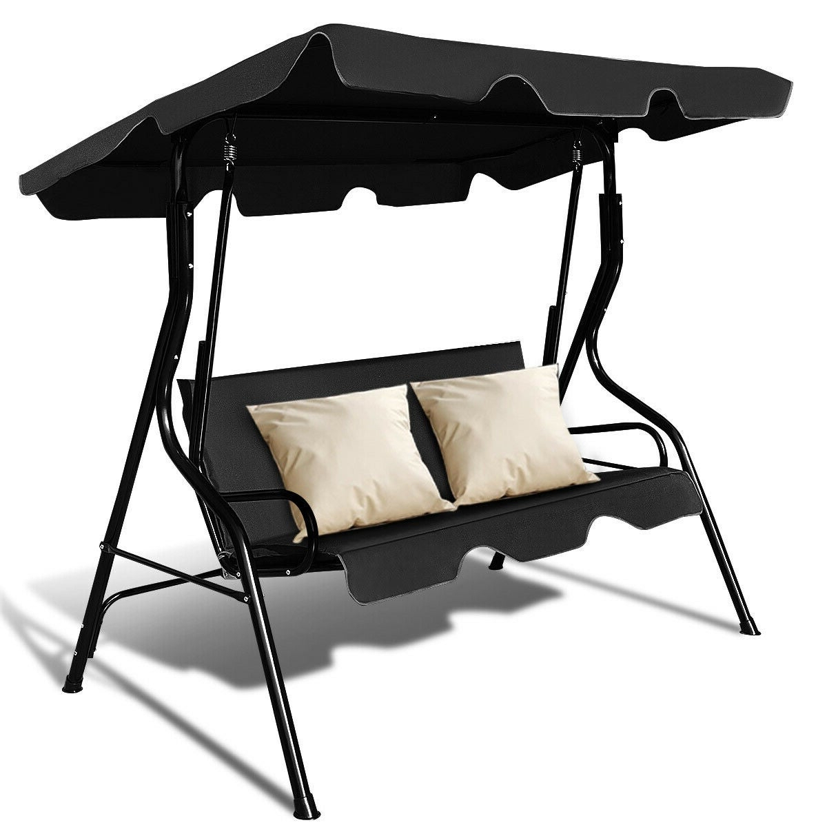 Trendy Costway 3 Seats Patio Canopy Swing Glider Hammock Cushioned Steel Frame Backyar Black In 2 Person Hammock Porch Swing Patio Outdoor Hanging Loveseat Canopy Glider Swings (View 20 of 25)