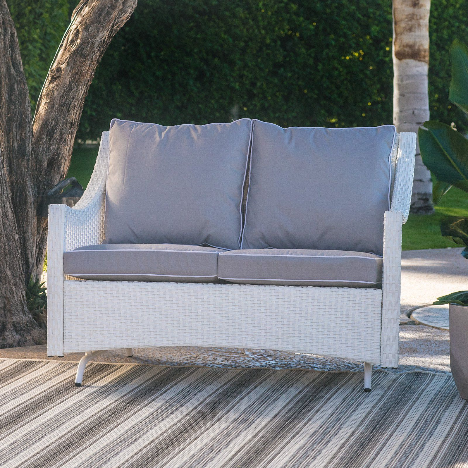 Trendy Outdoor Loveseat Gliders With Cushion With Regard To Belham Living Lindau All Weather Wicker Patio Loveseat (View 8 of 25)