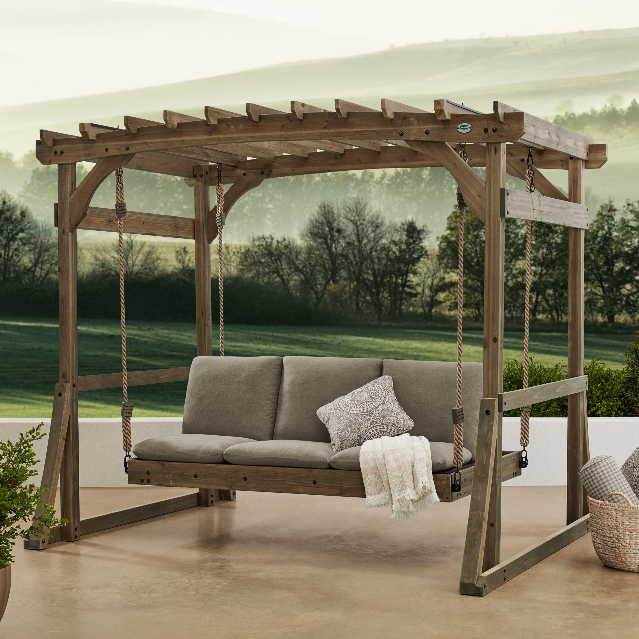 Trendy Pergola Porch Swings With Stand Within Claremont Pergola Lounger Porch Swing With Stand (View 10 of 25)