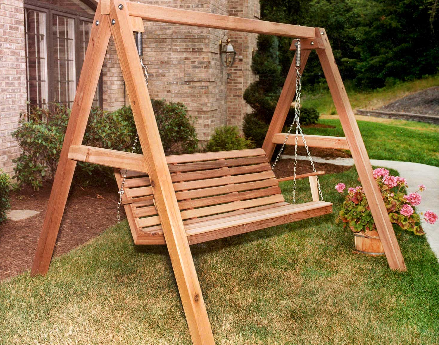 Trendy Red Cedar American Classic Porch Swing W/stand With Regard To Patio Porch Swings With Stand (View 17 of 25)