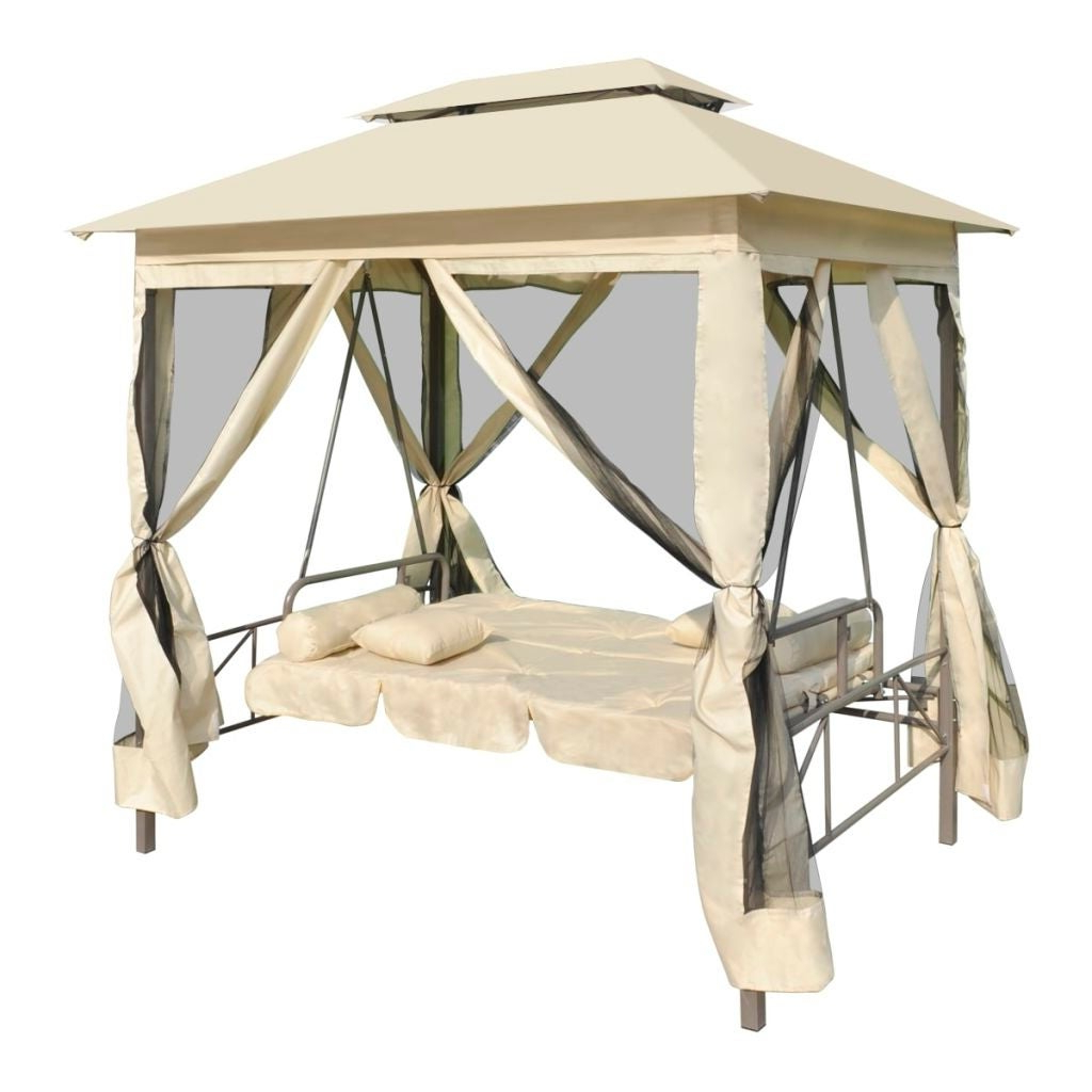 Vidaxl Gazebo Swing Chair Cream White Garden Outdoor Patio Porch Seat  Hammock With Regard To Well Known Patio Gazebo Porch Canopy Swings (Gallery 10 of 25)