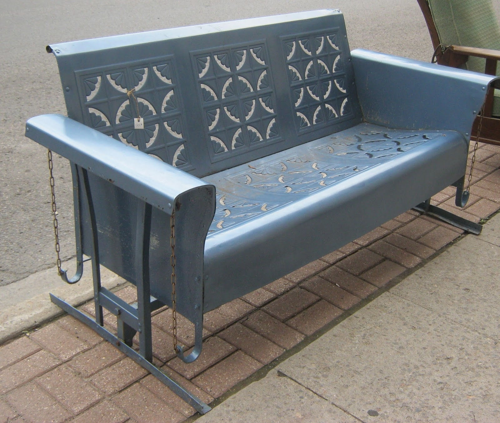Vintage Metal Porch Glider — Randolph Indoor And Outdoor Design Inside Well Liked Outdoor Steel Patio Swing Glider Benches (Gallery 17 of 25)
