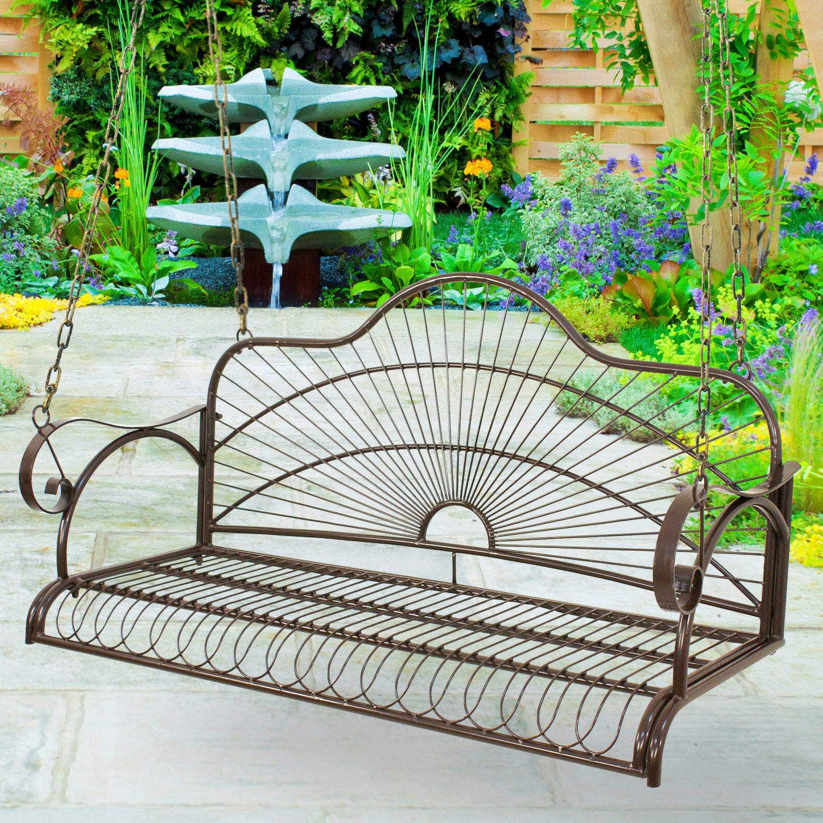 Well Known 2 Person Gray Steel Outdoor Swings Throughout Hanging Iron Metal Porch Swing Chair Bench Backyard Garden (Gallery 20 of 25)