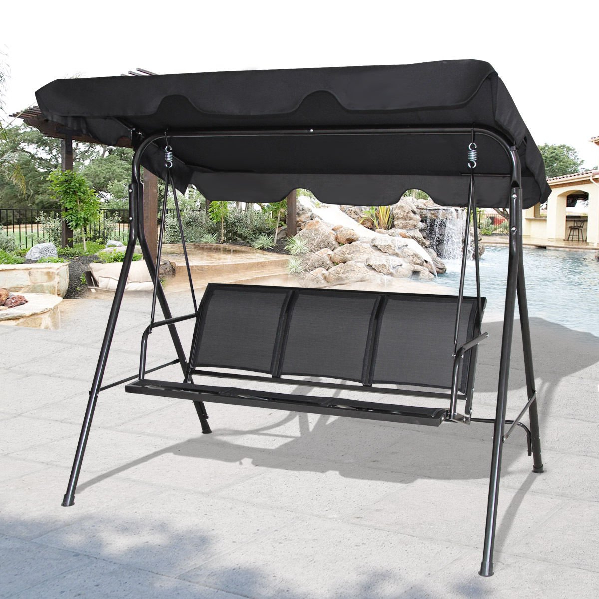 Well Known 2 Person Hammock Porch Swing Patio Outdoor Hanging Loveseat Canopy Glider Swings Intended For Cheap Patio 3 Person Swing, Find Patio 3 Person Swing Deals (View 24 of 25)