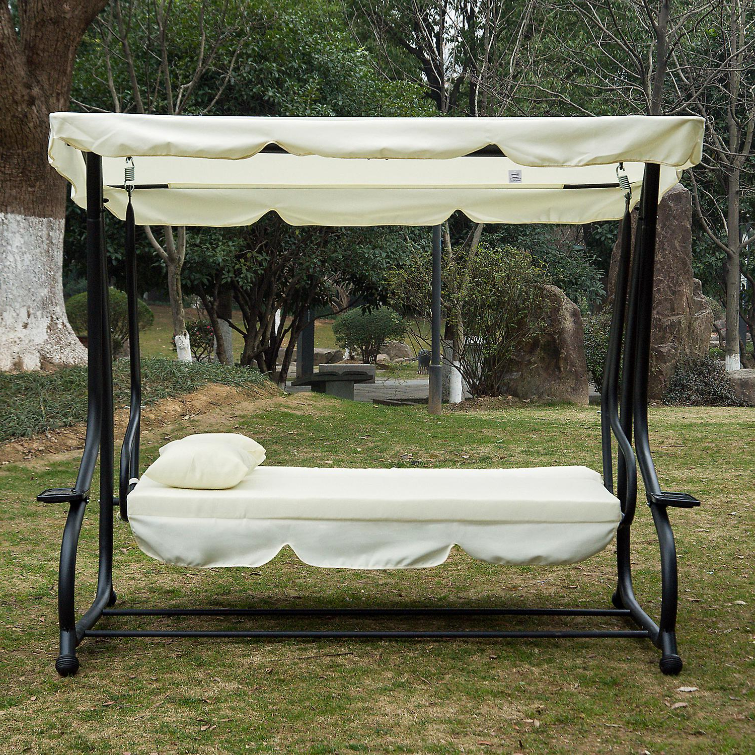 Well Known 3 Seat Pergola Swings Pertaining To Outsunny 2 In 1 Patio Swing Chair 3 Seater Hammock Cushion Bed Tilt Canopy Garden Lounger Bench (View 22 of 25)