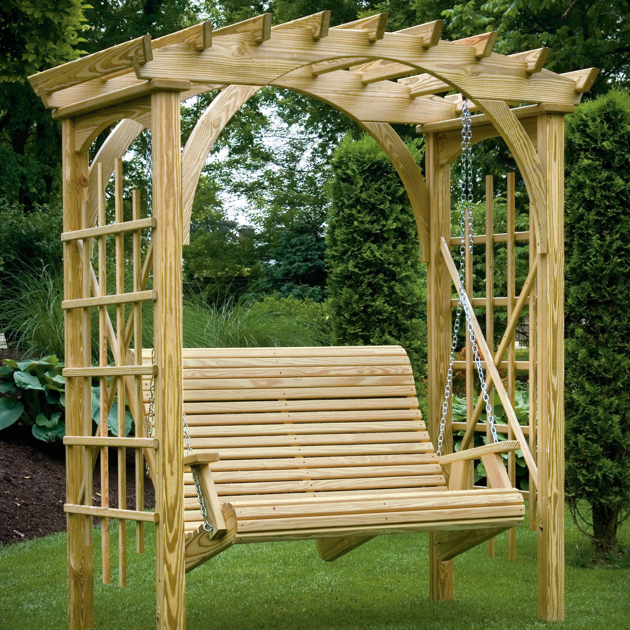 Well Known 3' X 6' Roman Arch Arbor With Rollback 4' Hanging Swing Throughout 3 Seat Pergola Swings (View 19 of 25)