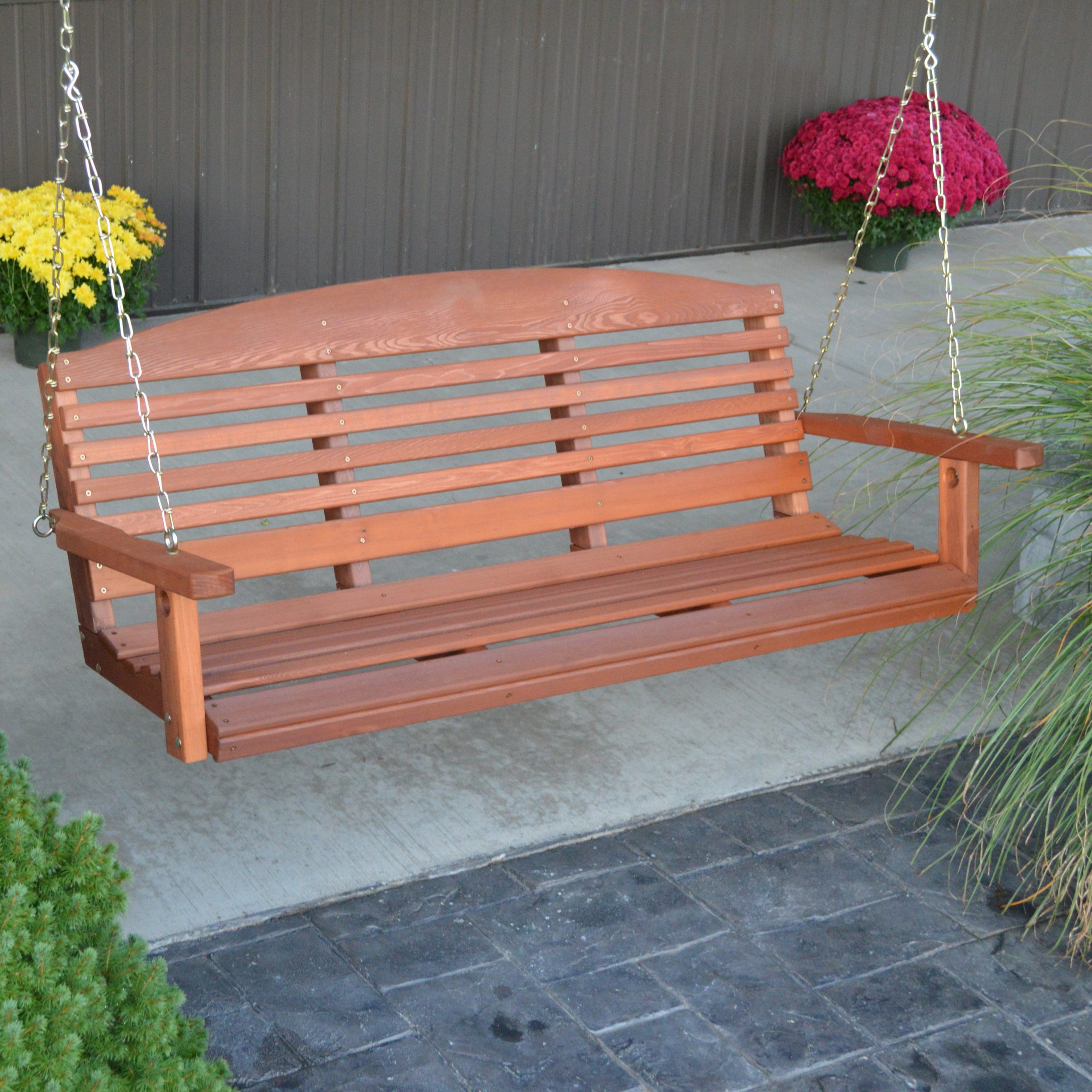Well Known A & L Furniture Western Red Cedar Classic Curved Back Porch Swing – Walmart Within A4 Ft Cedar Pergola Swings (View 18 of 25)