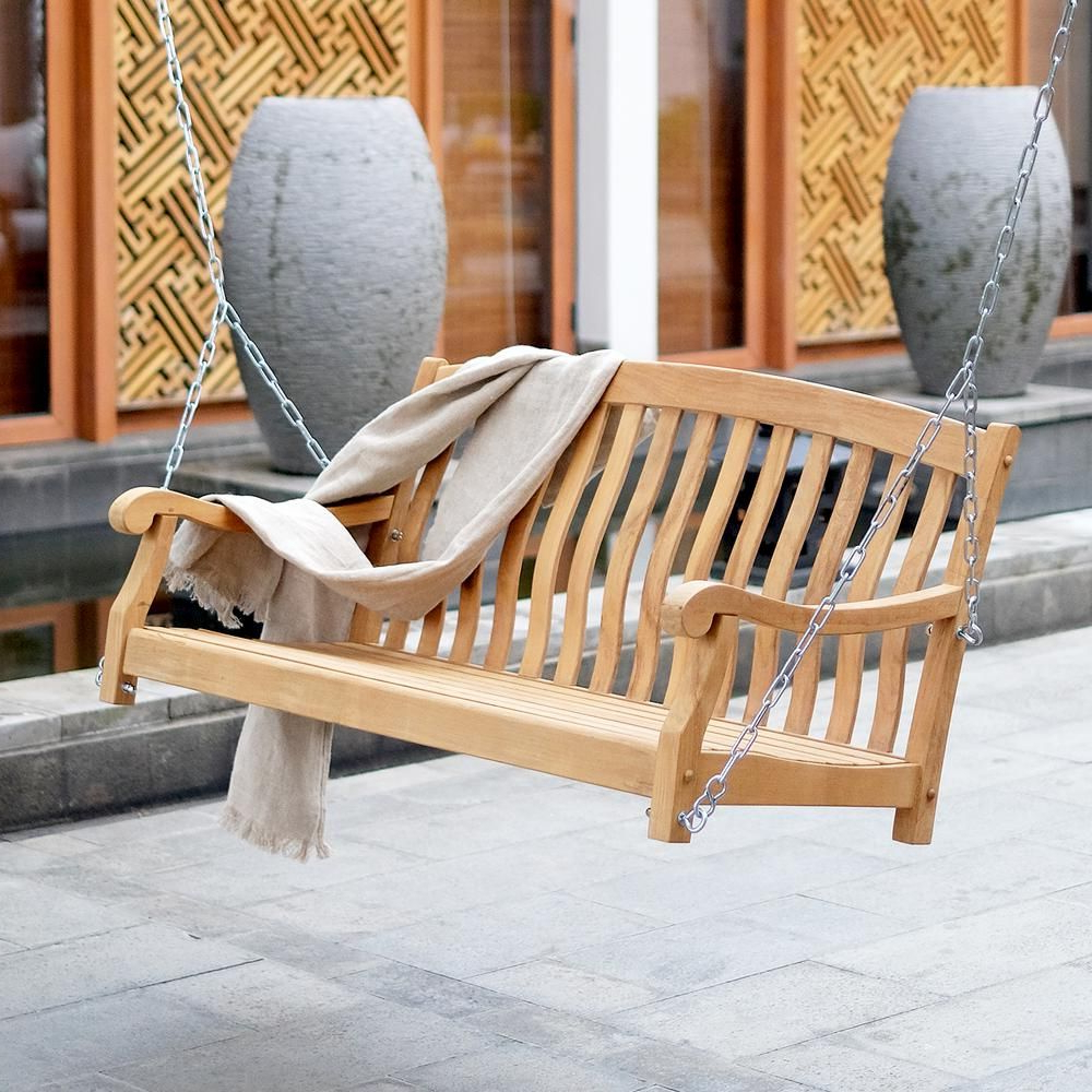 Well Known Cambridge Casual Colton Teak Wood Porch Swing Hd 130905T Inside Teak Porch Swings (Gallery 2 of 25)