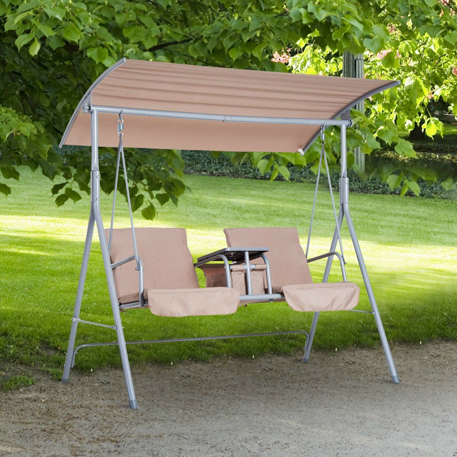 Well Known Canopy Patio Porch Swing With Stand Inside Laron Covered Patio Porch Swing With Stand (View 3 of 25)
