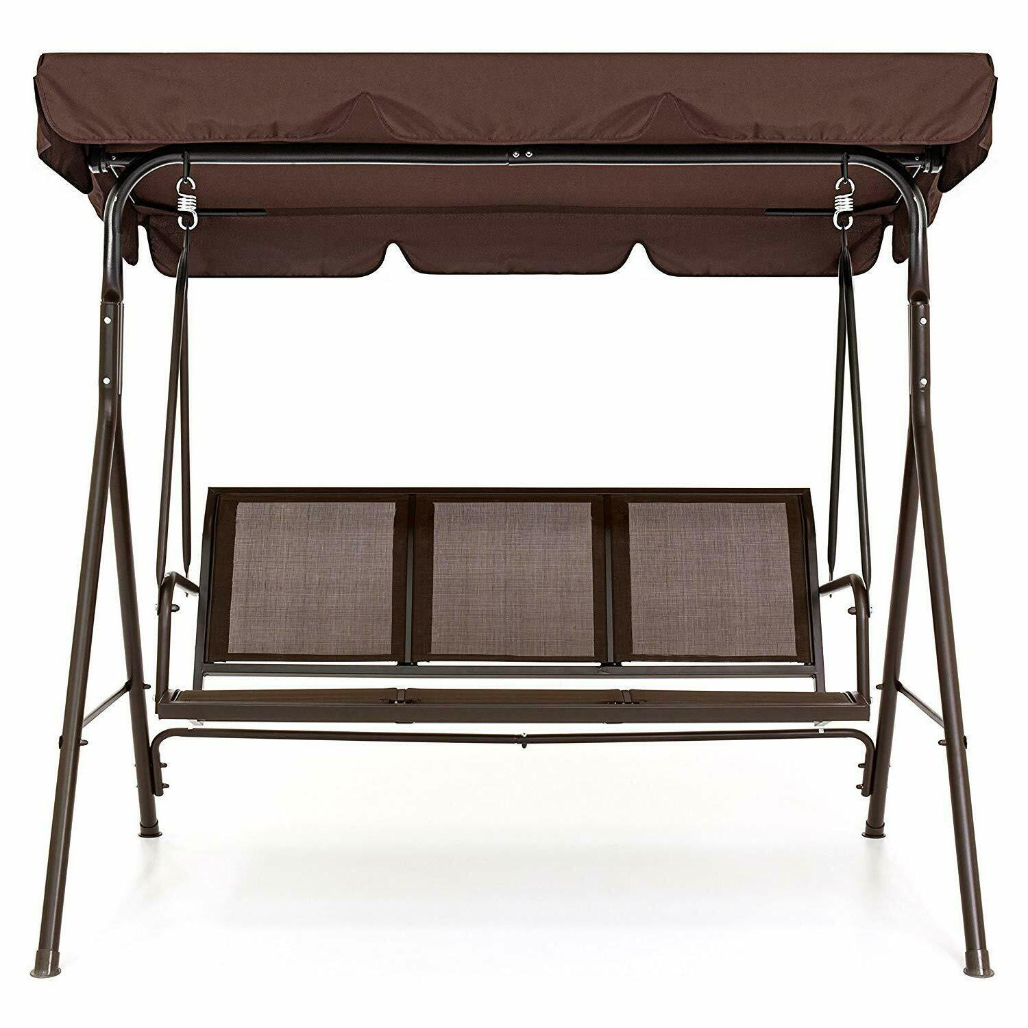 Well Known Canopy Porch Swings Throughout Best Choice Products 2 Person Outdoor Convertible Canopy Porch Swing – Brown (View 24 of 25)