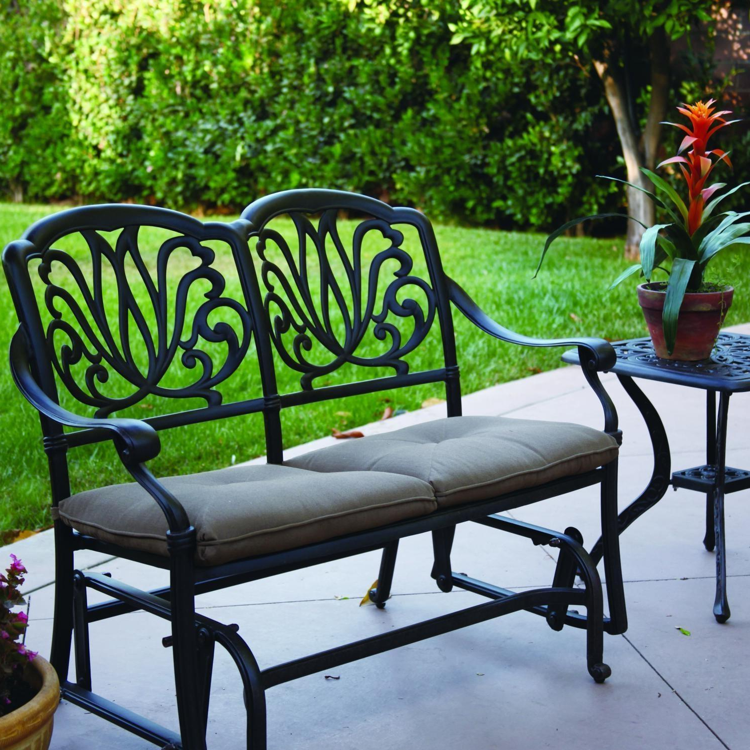 Well Known Darlee Elisabeth 2 Piece Cast Aluminum Patio Bench Glider Conversation Seating Set Throughout 2 Person Antique Black Iron Outdoor Gliders (View 3 of 25)