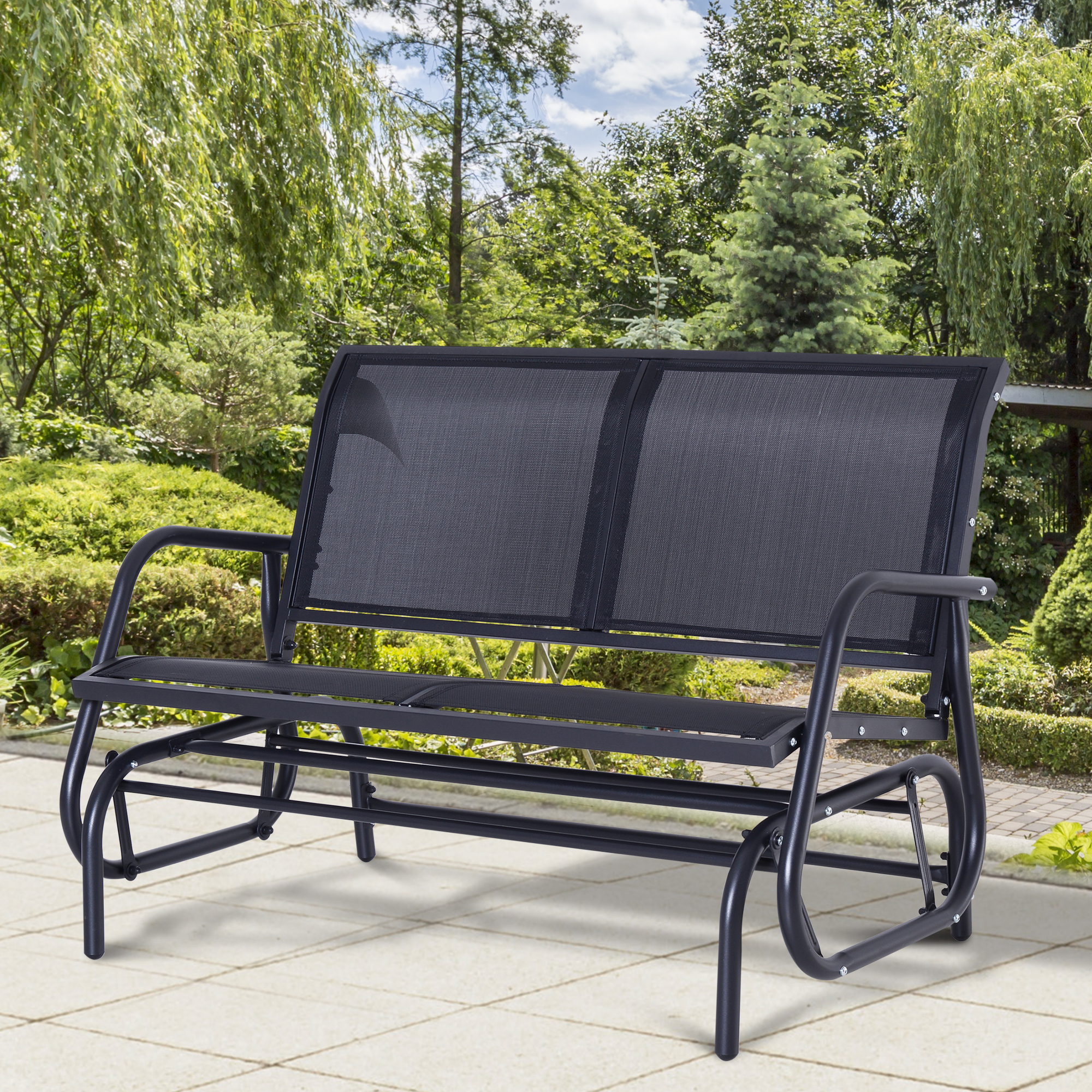 Well Known Details About Outsunny Patio Double 2 Person Glider Bench Rocker Porch Love Seat Swing Chair With Regard To Outdoor Steel Patio Swing Glider Benches (View 15 of 25)