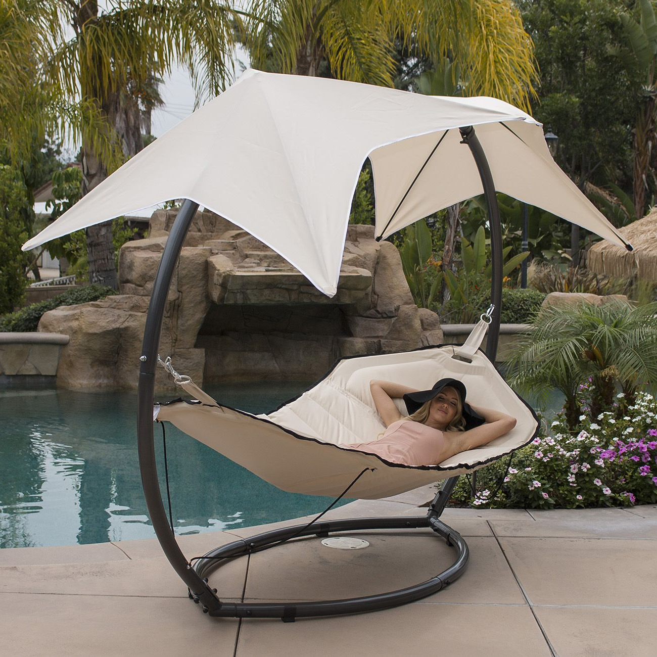 Well Known Garden Leisure Outdoor Hammock Patio Canopy Rocking Chairs Regarding Belleze Belleze Patio Hammock W/ Sunroof Canopy Outdoor (View 7 of 25)