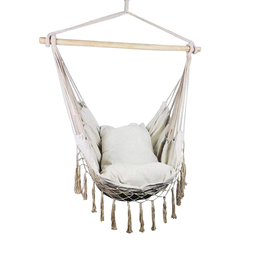 Well Known Hanging Rope Hammock Chair Porch Swing Seat, Large Hammock Net Chair Swing  Cotton Rope Porch Chair For Indoor Garden Patio Porch Pertaining To Cotton Porch Swings (Gallery 5 of 25)