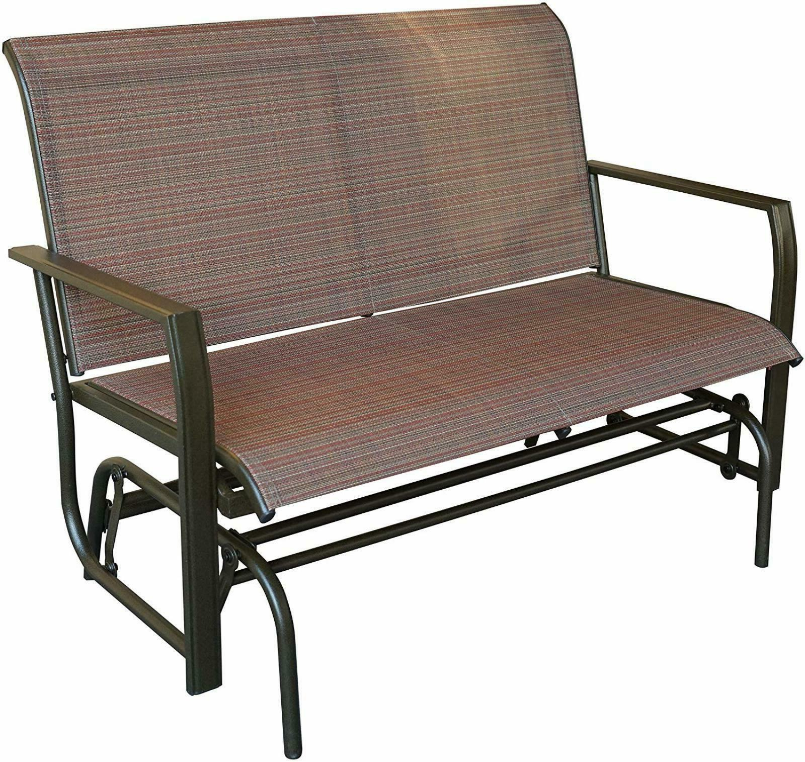 Well Known Love Seat Swing Bench For Patio Textile And Sturdy Frame Glider Rocker Tan Brown Pertaining To Rocking Love Seats Glider Swing Benches With Sturdy Frame (View 7 of 25)