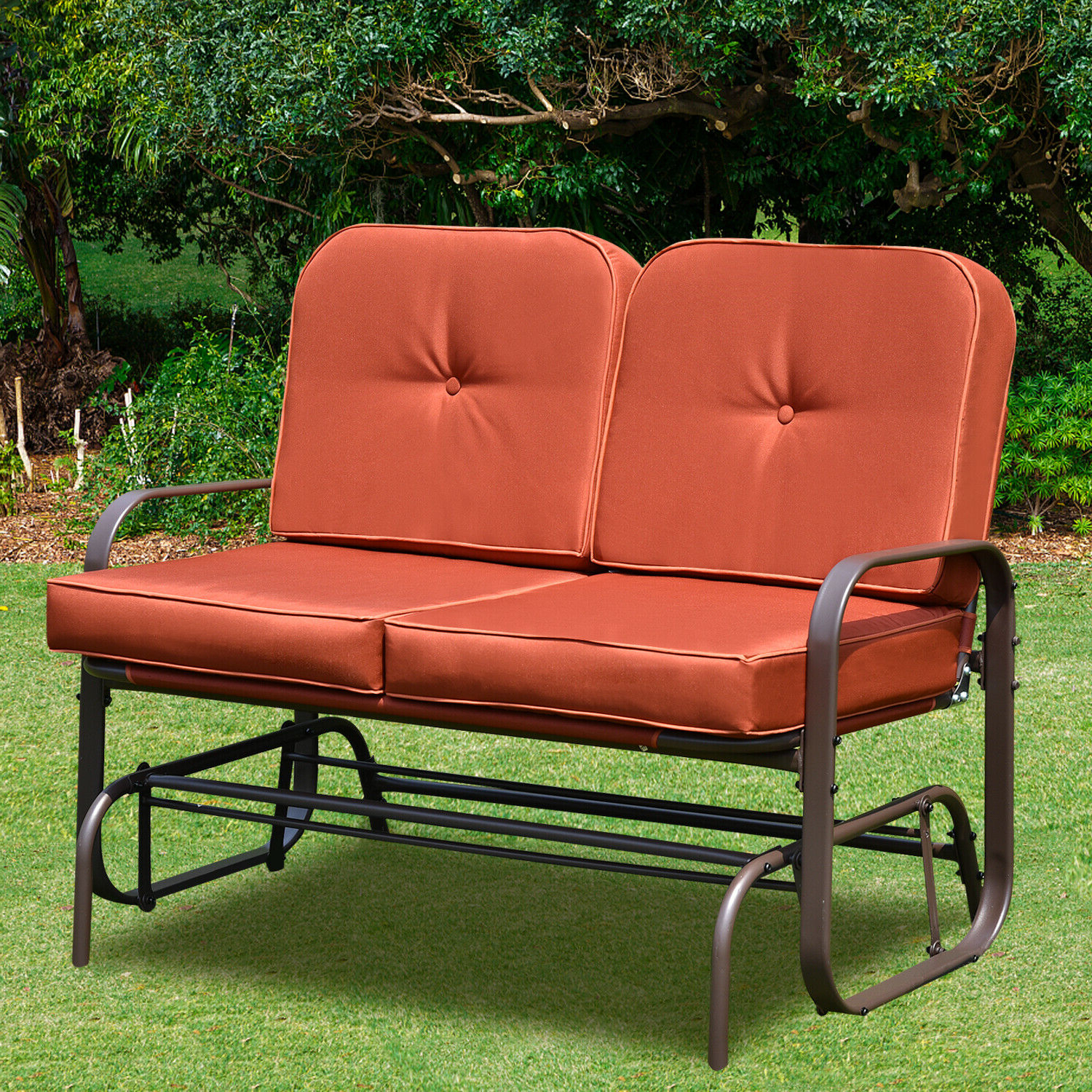 Well Known Outdoor Loveseat Gliders With Cushion Regarding Patio Glider Bench Chair 2 Person Rocker Loveseat Outdoor (View 6 of 25)