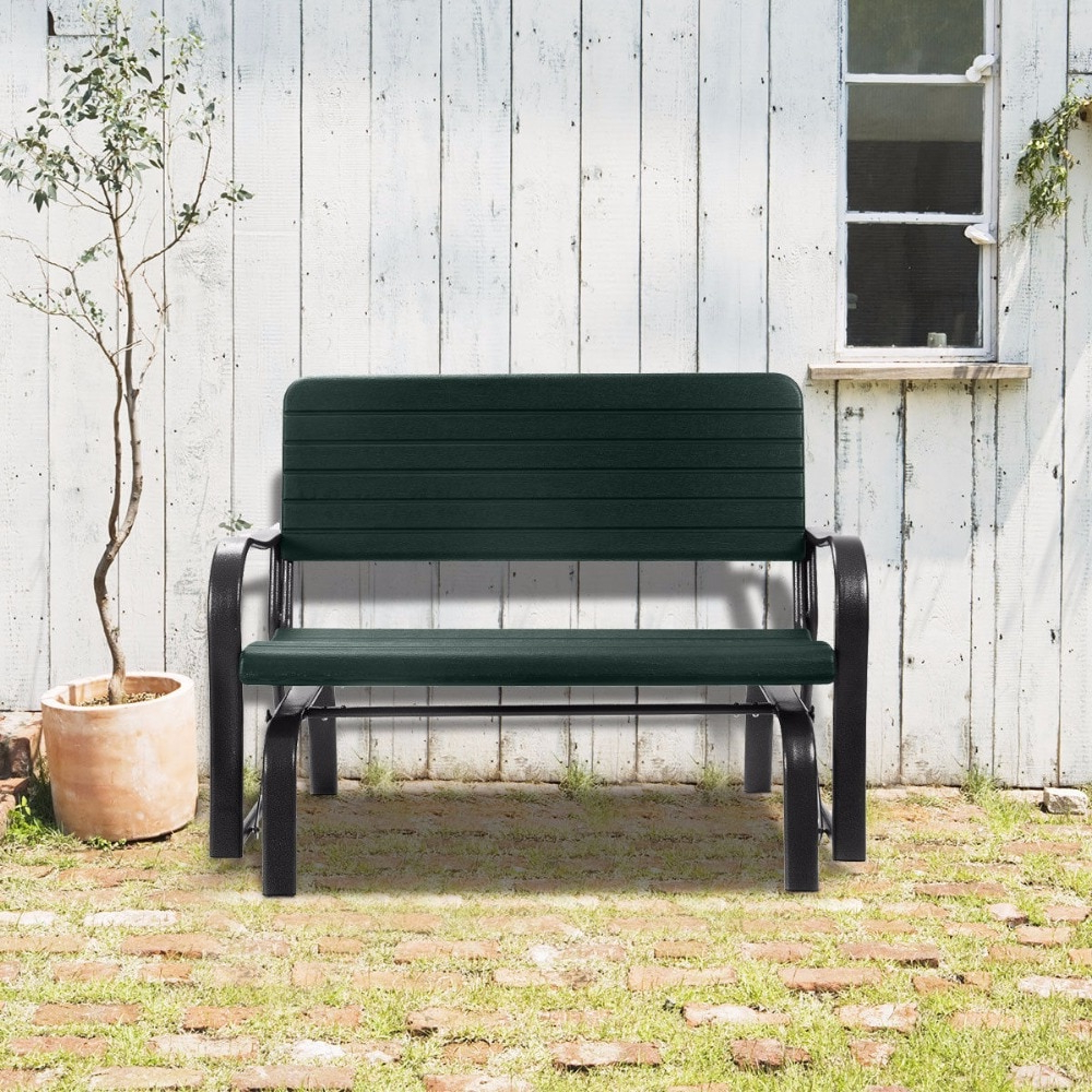 Well Known Outdoor Steel Patio Swing Glider Benches Within Us $ (View 13 of 25)
