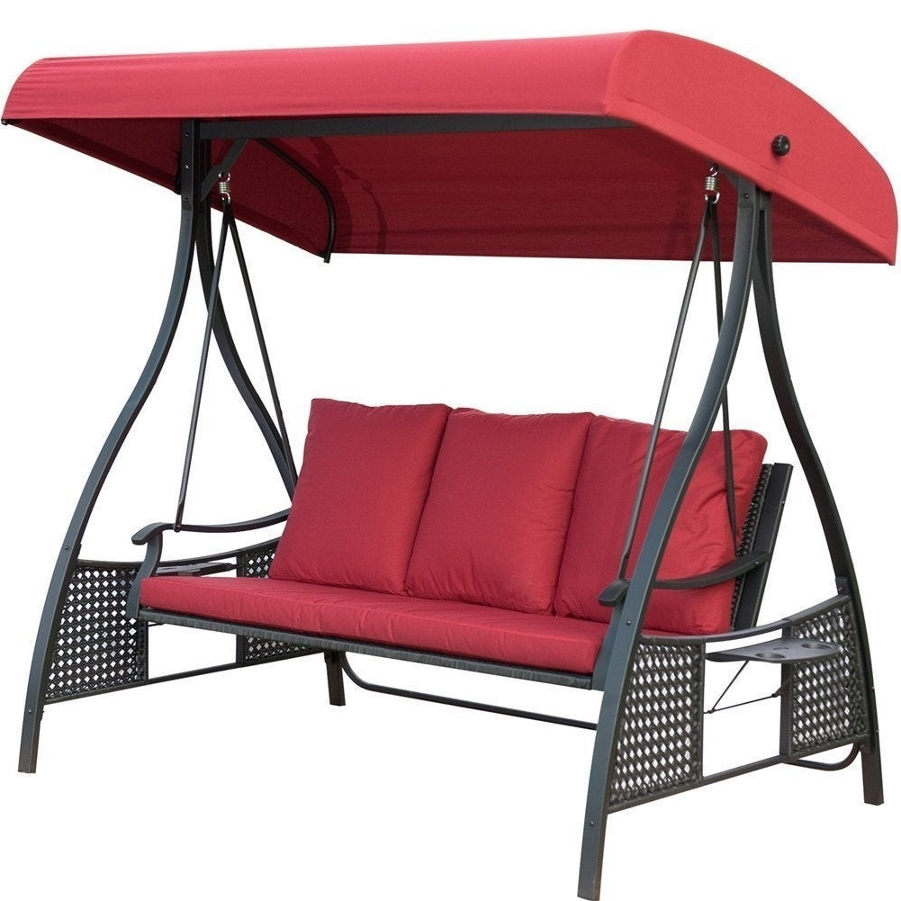 Well Known Outdoor Swing Chair, Seats 3 Porch Patio Swing Glider With Durable Steel  Frame And Padded Cushion, Red With 3 Person Red With Brown Powder Coated Frame Steel Outdoor Swings (Gallery 7 of 25)