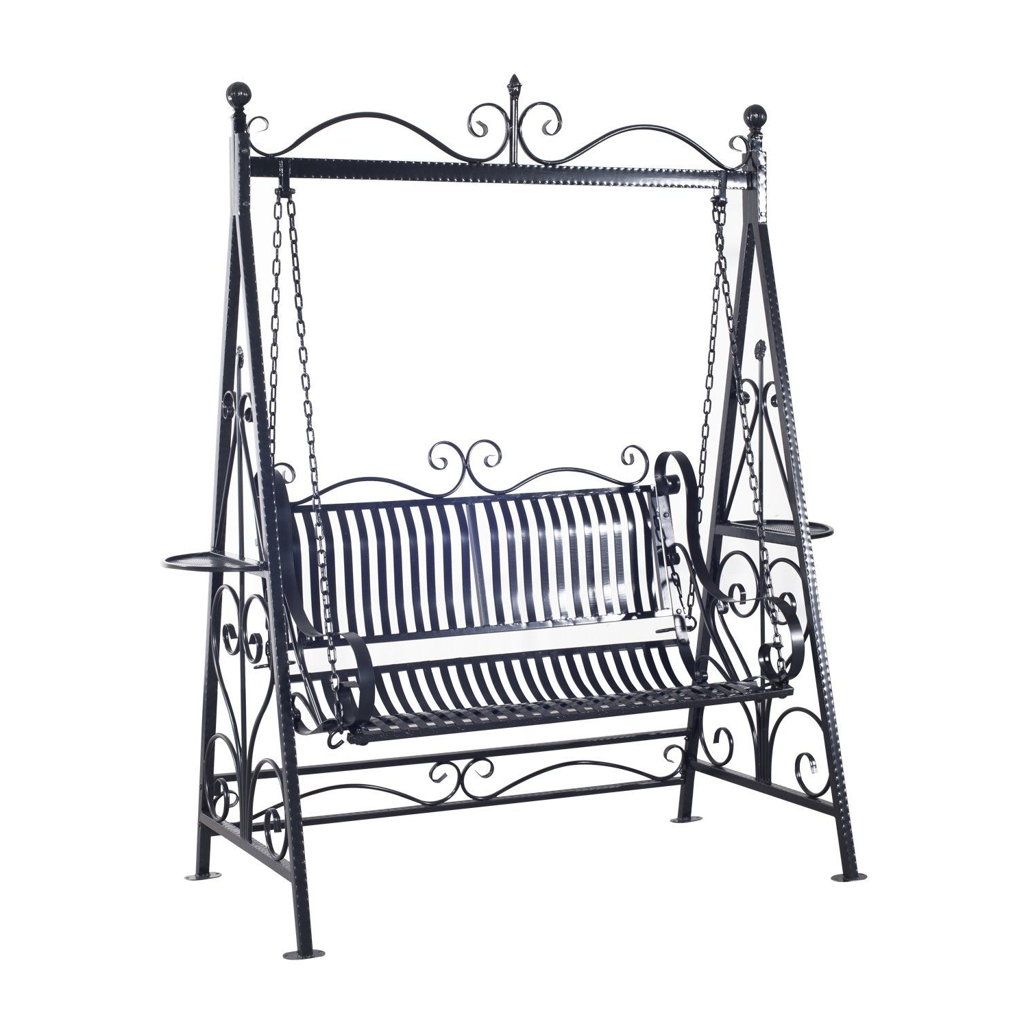 Well Known Outsunny Garden Metal Swing Chair Outdoor Patio Hammock Throughout 2 Person Antique Black Iron Outdoor Swings (Gallery 2 of 25)