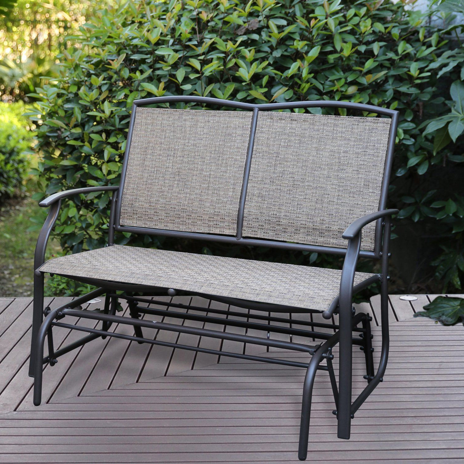 Well Known Patio Tree Patio Swing Glider Bench For 2 Person All Intended For 2 Person Gray Steel Outdoor Swings (View 25 of 25)
