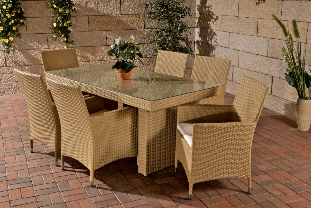 "Well Known Rattan Garden Swing Chairs With Rattan Garden Furniture Set ""Atlanta"" Rattan Table 180 Cm And 6 Chairs For  Garden Terrace Balcony Beige (Gallery 6 of 25)"