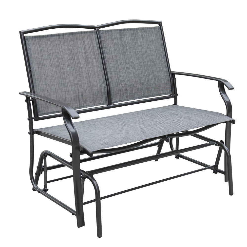 Well Known Sundale Outdoor 2 Person Loveseat Glider Bench Chair Patio Throughout 2 Person Gray Steel Outdoor Swings (View 23 of 25)