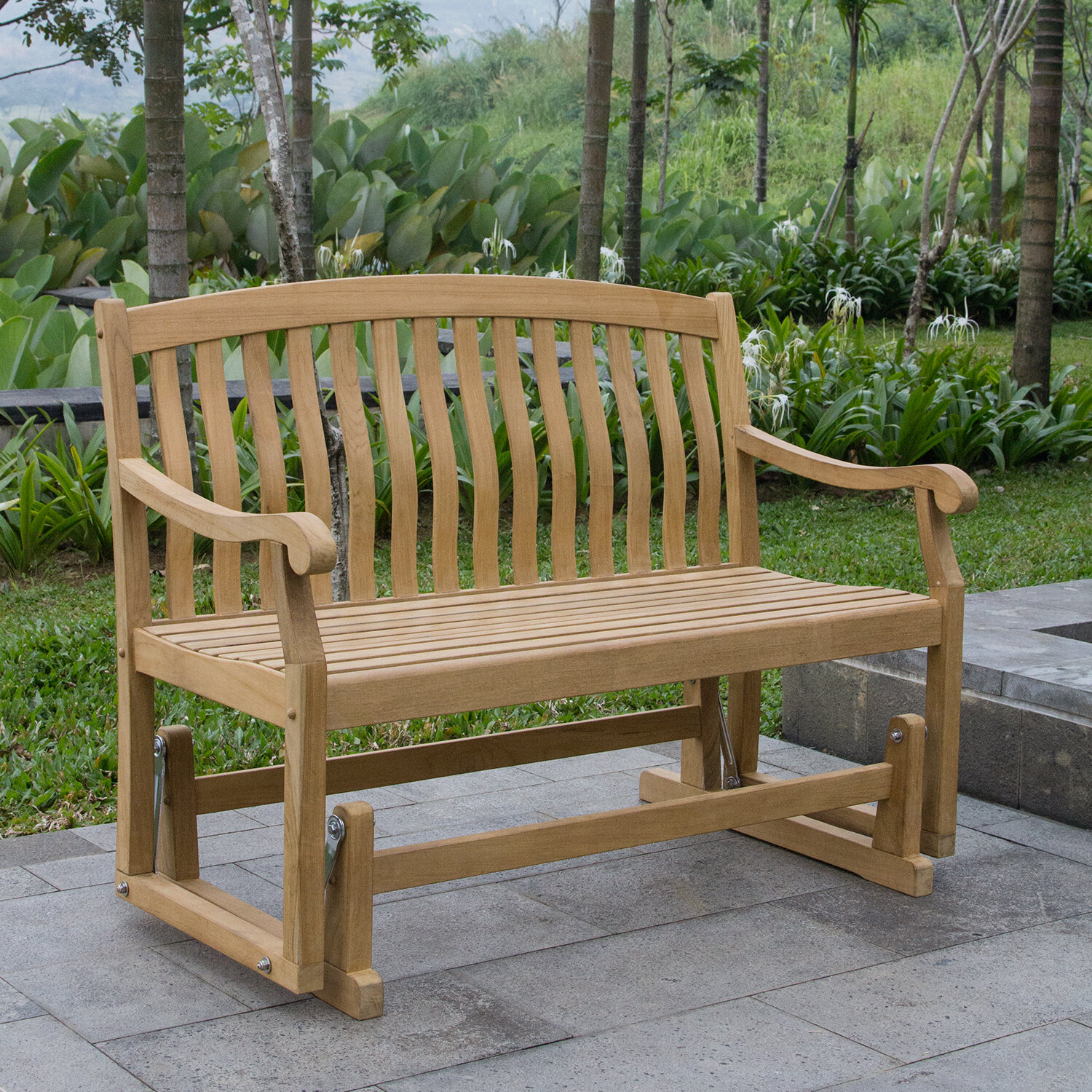 Well Known Teak Outdoor Glider Benches Throughout Cynthia Teak Glider Bench (View 24 of 25)
