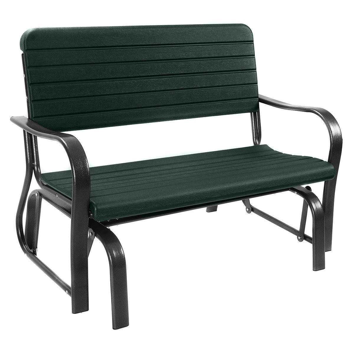 Well Liked 1 Person Antique Black Steel Outdoor Gliders Intended For Outdoor Patio Steel Swing Bench Loveseat (Gallery 18 of 25)