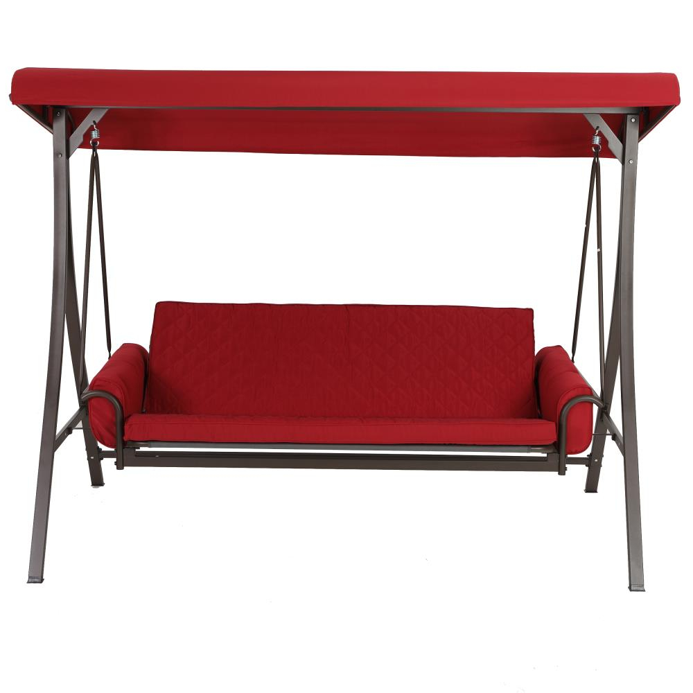 Well Liked 3 Person Red Futon Swing Pertaining To 3 Person Red With Brown Powder Coated Frame Steel Outdoor Swings (View 11 of 25)