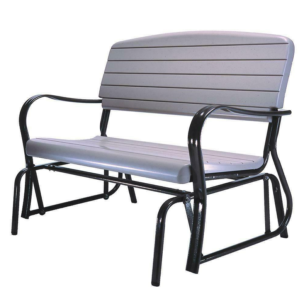 Well Liked Black Steel Patio Swing Glider Benches Powder Coated In Details About Patio Glider Bench Steel Frame Powder Coated Seat Heavy Duty Sturdy Plastic (View 8 of 25)