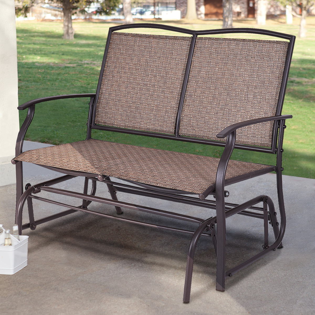 Well Liked Costway Patio Glider Rocking Bench Double 2 Person Chair Loveseat Armchair Backyard – Walmart Regarding 2 Person Antique Black Iron Outdoor Gliders (View 20 of 25)