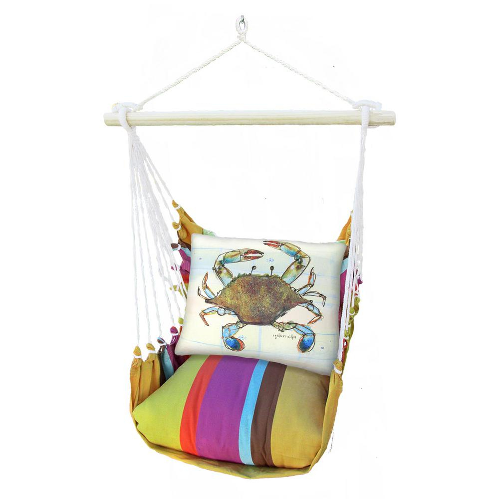 Well Liked Cotton Porch Swings Inside 3 Piece Wood Polyester Cushioned Porch Swing With Crab Print Back Pillow (View 16 of 25)