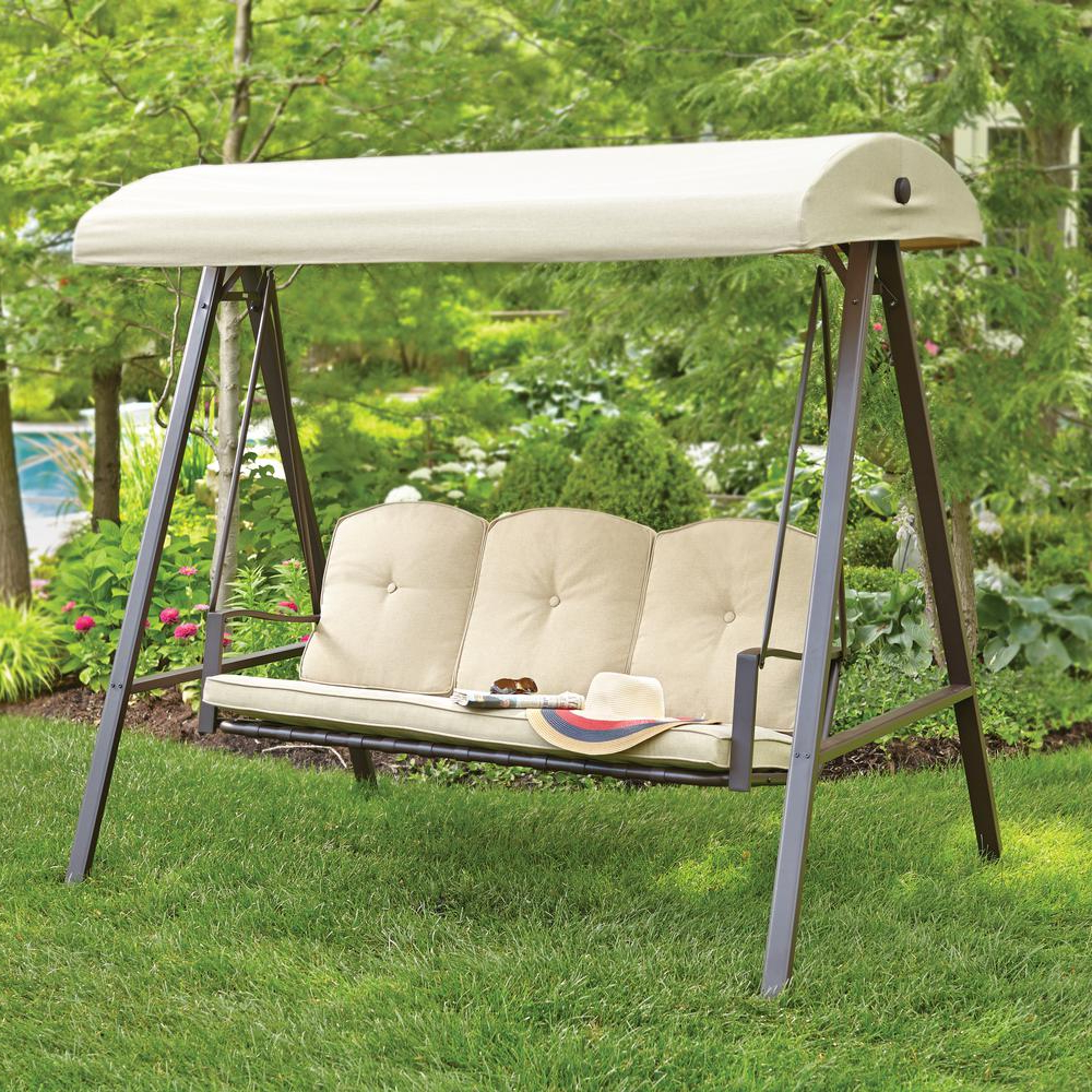 Well Liked Cunningham 3 Person Metal Outdoor Patio Swing With Canopy Intended For 3 Person Light Teak Oil Wood Outdoor Swings (Gallery 21 of 25)