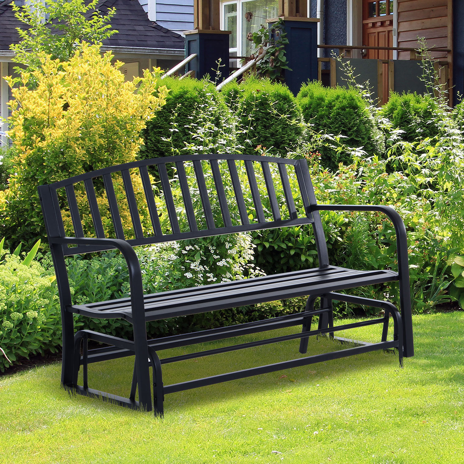 Well Liked Details About Patio Garden Glider 2 Person Outdoor Porch Bench Rocking  Chair Yard Furniture Intended For 1 Person Antique Black Steel Outdoor Gliders (Gallery 7 of 25)
