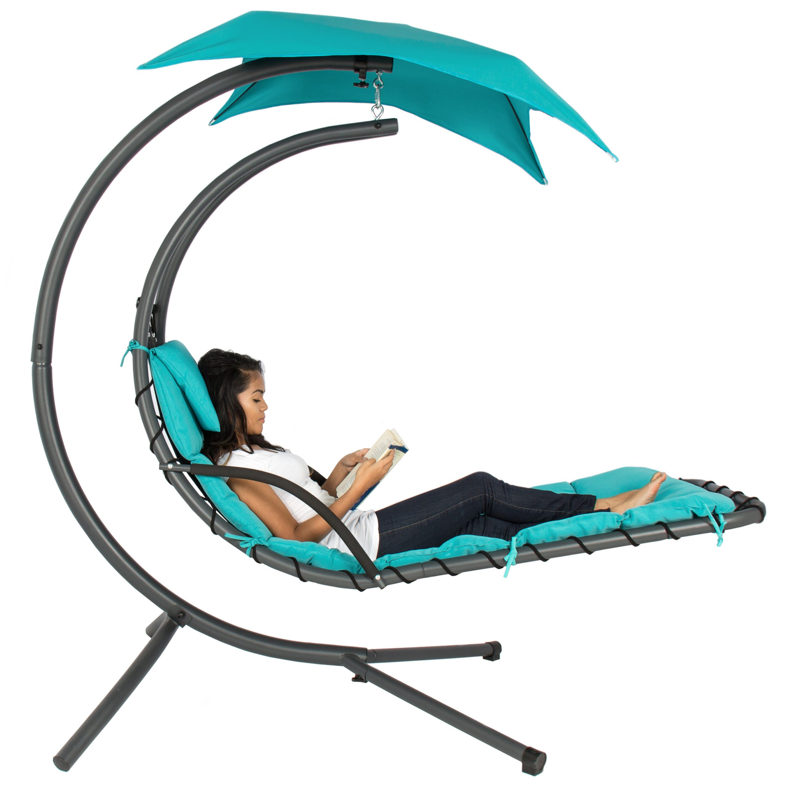 Well Liked Garden Leisure Outdoor Hammock Patio Canopy Rocking Chairs Pertaining To Best Choice Products Hanging Curved Chaise Lounge Chair Swing For Backyard, Patio W/ Pillow, Canopy, Stand – Teal (View 25 of 25)
