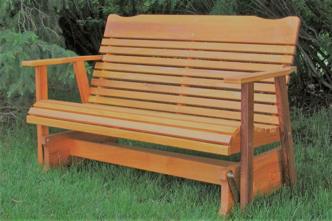 Well Liked Outdoor Patio Swing Glider Bench Chair S Pertaining To Wood Glider Bench Outdoor Patio Furniture Garden Deck Rocker Porch Amish  Crafted (View 24 of 25)