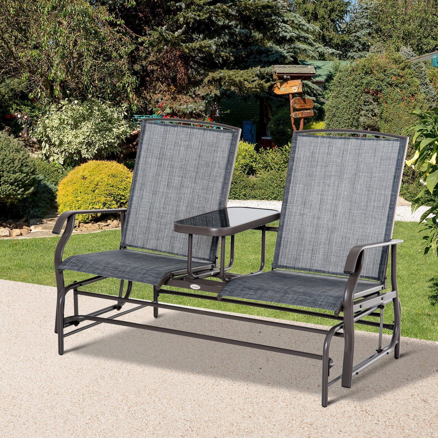 Well Liked Outdoor Patio Swing Glider Bench Chairs Pertaining To Outsunny 2 Seater Patio Glider Rocking Chair Metal Swing Bench Furniture Table (View 17 of 25)