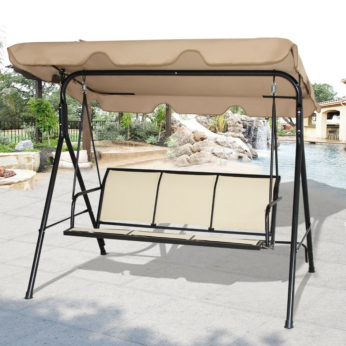 Well Liked Patio Glider Hammock Porch Swings For Garden Outdoor 3 Person Family Canopy Glider Hammock Porch Swing Bench  Chair Us (Gallery 7 of 25)