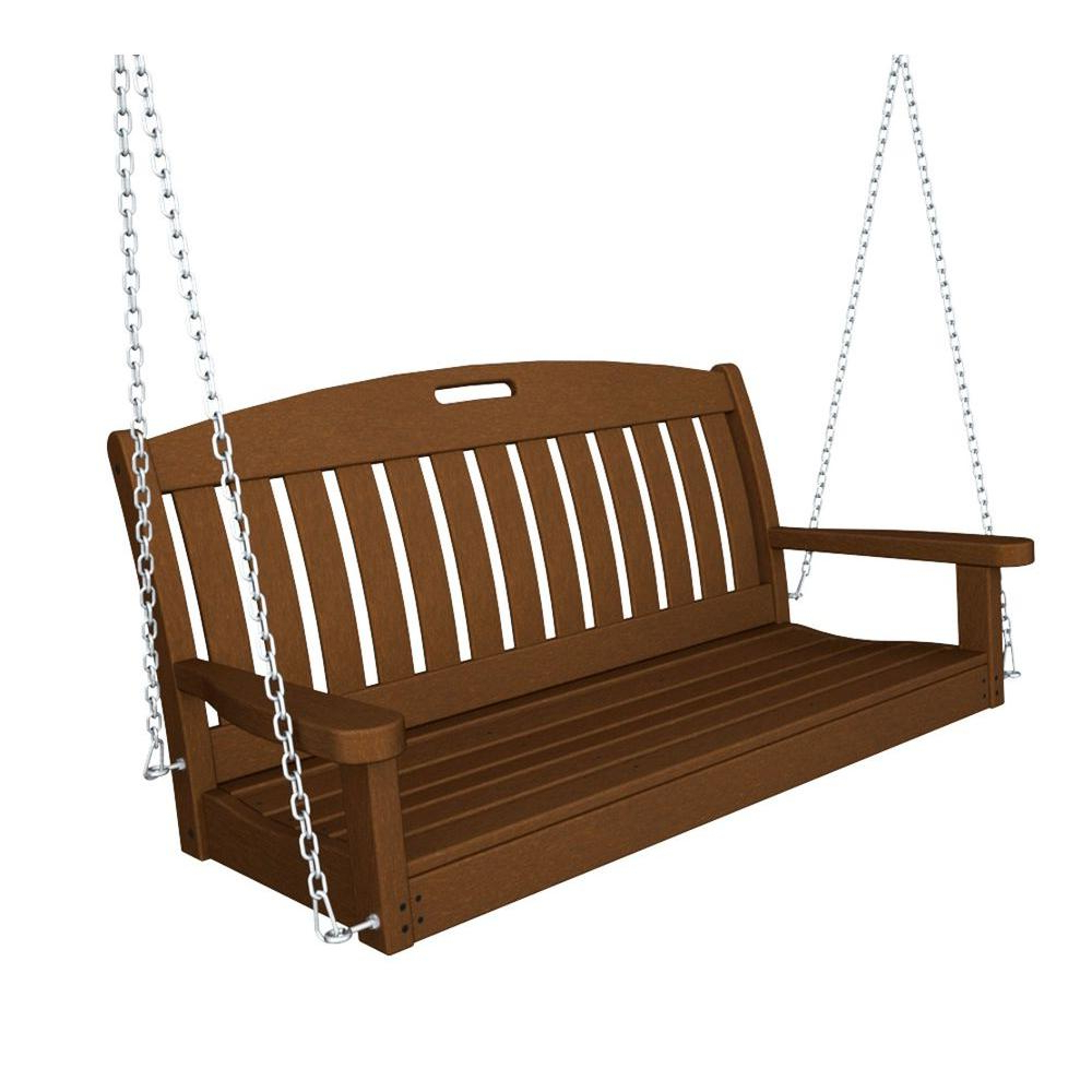 Well Liked Patio Hanging Porch Swings With Regard To Polywood Nautical 48 In. Teak Plastic Outdoor Porch Swing (Gallery 11 of 25)