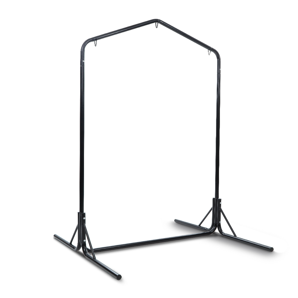 Widely Used 2 Person Black Steel Outdoor Swings Regarding Gardeon Double Hammock Chair Stand Steel Frame 2 Person Outdoor Heavy Duty  200Kg (View 25 of 25)