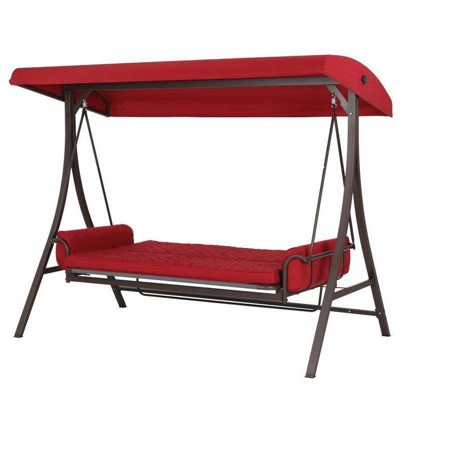 Widely Used 3 Person Red Futon Swing Pertaining To 3 Person Brown Steel Outdoor Swings (Gallery 20 of 25)