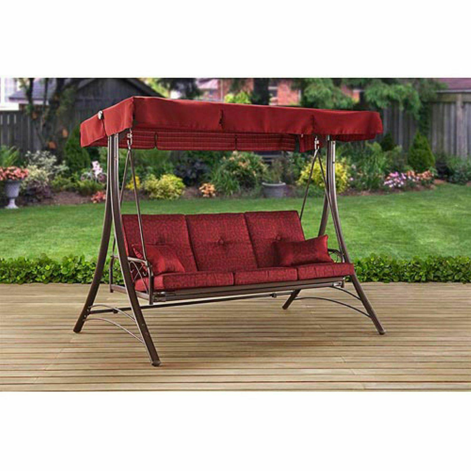 Widely Used 3 Person Red With Brown Powder Coated Frame Steel Outdoor Swings With Front Porch Swing Set Outdoor Patio Swin (View 13 of 25)