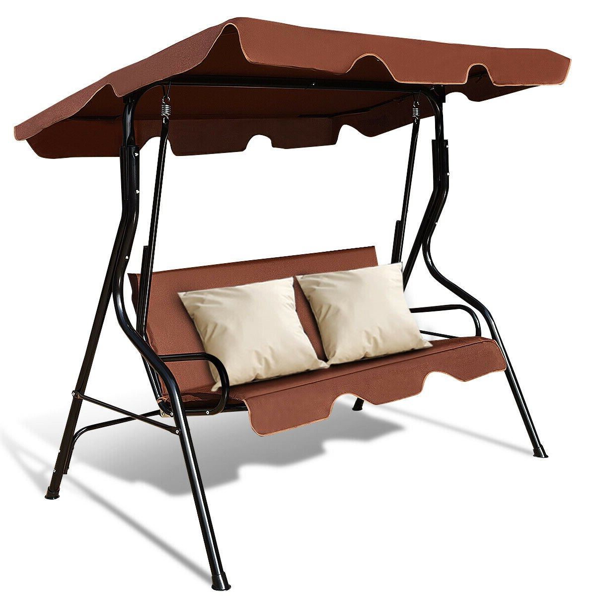 Featured Photo of 3 Seats Patio Canopy Swing Gliders Hammock Cushioned Steel Frame