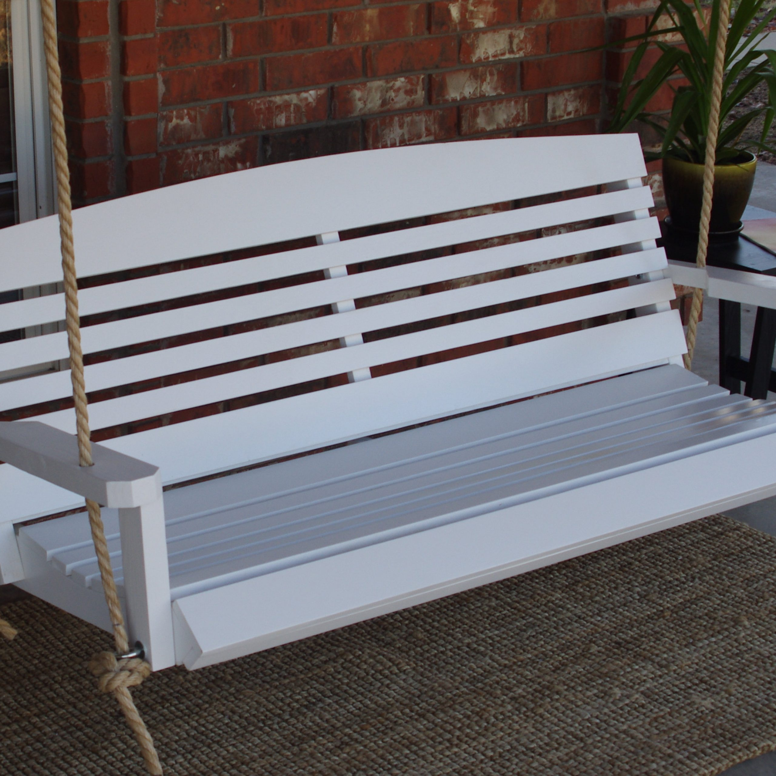 Widely Used 5 Ft Cedar Swings With Springs Within Brand New 5 Foot Painted American Style White Porch Swing – With Hanging Chain Or Rope – Free Shipping (View 11 of 25)