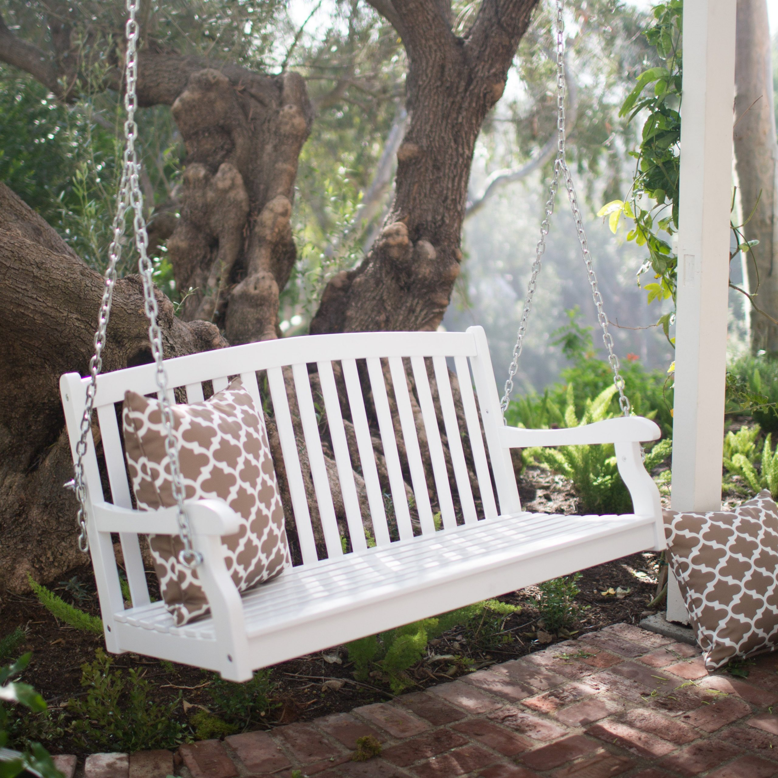 Widely Used Coral Coast Pleasant Bay 4 Ft. White Curved Back Porch Swing Regarding Porch Swings (Gallery 12 of 26)